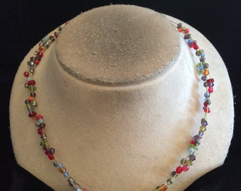 Vintage Signed VJ Colorful Glass Beaded Wire Necklace