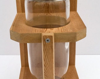Wine bottle bird feeder -- Wooden bird feeder -- Bird feeder