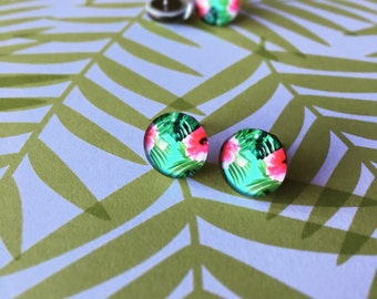 Pink and Green Floral Glass Dome Earrings - Flower Earrings - Tropical Earrings - Palm Tree Earrings