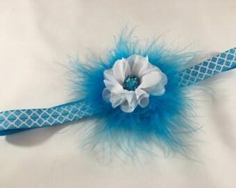 Blue Feather and Chiffon Headband