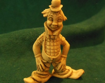 Creepy Vintage Hobo Clown Figurine Miniature Circus Carnival Collectible Retro Plastic Made in Hong Kong