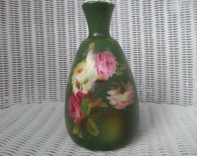 """FREE SHIPPING Green Porcelain Vase, Floral Transferware, Unusual Shape, Early 20th Century, 5.5"""" x 3"""", Exquisite Blended Colours"""