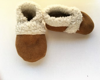 SALE- sherpa slippers moccasin booties handmade sherpa lined for baby or toddler