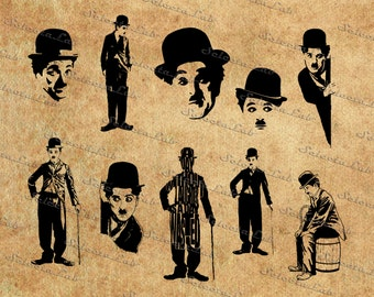 Digital SVG PNG charlie chaplin, sir spencer chaplin, actor, british, celebrity, Charlie, clipart, vector, silhouette, instant download