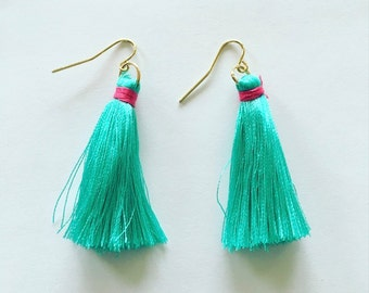 50% off cute teal thread tassel earrings  gold non-nickel earrings
