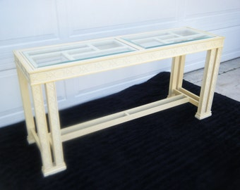 vintage double leg fret console entrance table
