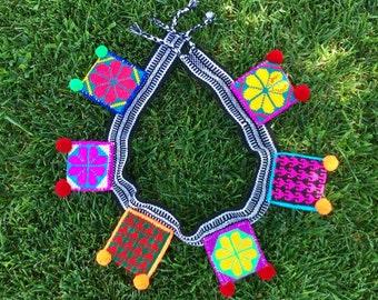 Mexican Huichol Handwoven Pocket Belt / Ethnic Woven Belt
