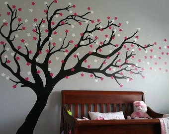 Cherry blossom tree vinyl wall decal