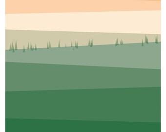 Green Fields Digital Print