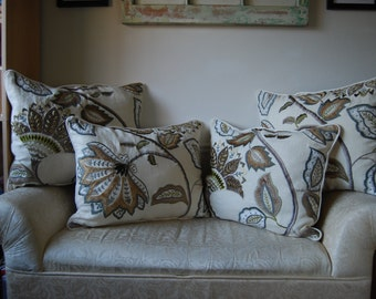 Linen and Vines Sofa Pillows, Set of 4