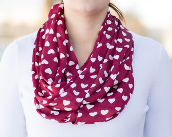 Valentine's Day Scarf, Red and White heart Scarf, Little Hearts Scarf, Love Infinity Scarf