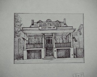 "House Portrait, Custom House Drawing, Pen and Ink House Portrait, Home Portrait, Small 5"" x 7"" unmatted"