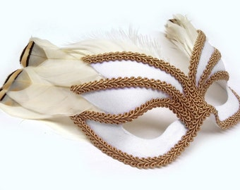 Icarus White Masquerade Mask U150