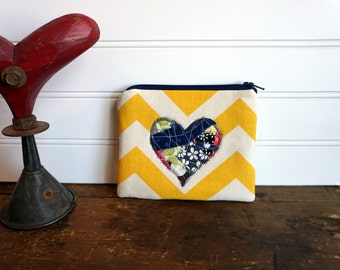 Zipper Bag - Small Coin Purse, Credit Card or Gift Card Holder, Yellow Chevron and Navy and Grey Collage Heart, Valentines Day Bag