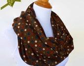 Polka Dot Infinity Scarf, Polka Dot Scarf, Brown Scarf, Loop Boho Scarf, Fashion Scarf, Gifts Ideas For Her Bohemian Accessories, Shawl Gift