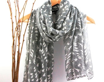 Shawls with Bird Print, Scarves for Women, Fashion Scarves, White Grey Women's Scarf, Gift For Her, Boho Shawl, Bohemian Accessories