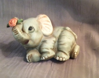 Homco Baby Elephant Figurine #1400, Baby Elephant Figurine by Homco