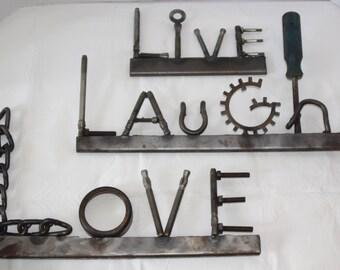 Live, Laugh, Love Wall Decor Metal Art Sculpture Industrial