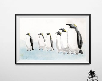 The Rise Of The Penguin Power - Original Watercolor Painting  by Lacalaveratropical - Home Decor