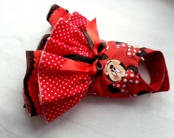 Red Small dog Harness clothes Chihuahua clothes,Disney inspired Minnie outfit Designer dog clothes Puppy clothes Dress XS