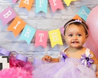 Girl Birthday Banner. Happy Birthday Banner Girl. Spring Birthday Banner.