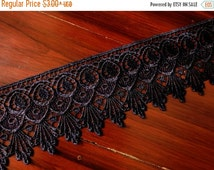 10% OFF Navy Blue Lace Trim, Embroidered Trim, Indian Fabric Trim, Lace Trim, Indian Ribbon