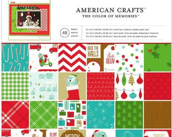 American Crafts Be Merry Paper Pad, 12x12 Sheets, 48 Sheets