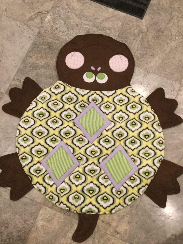 Cutest turtle minke baby quilt or floor play mat blanket for Floor quilt for babies