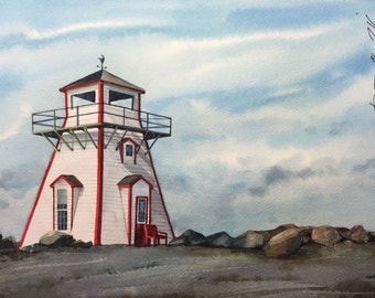 "Original watercolor painting ""Lighthouse Point Arisayg""(New Scotland)"