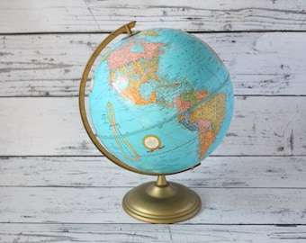 """Vintage Cram's Imperial World Globe Blue Color & Brass Color Metal Base George Cram 12"""" Earth Tabletop Rotating Russia Map"""