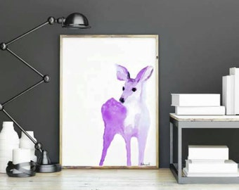 Soft Pink Watercolour Deer Print - Brighten Up Your Home