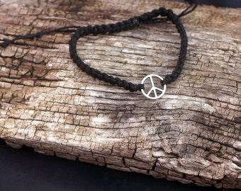 Hemp macrame bracelet complete with peace charm