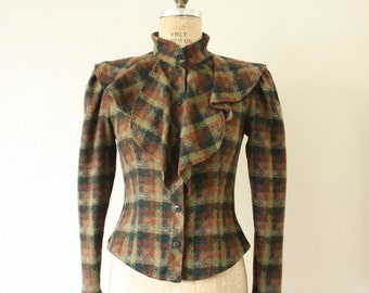 80s does 60s Vintage Fitted Plaid Jacket