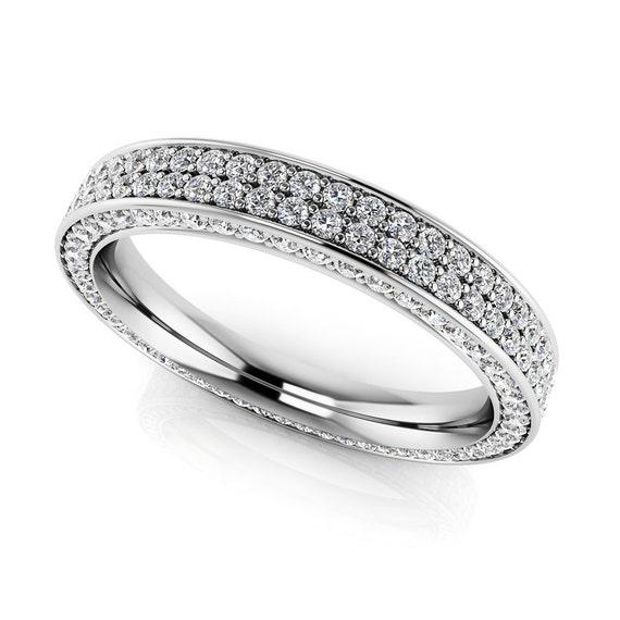 women 39 s white gemstone eternity ring unique diamond band. Black Bedroom Furniture Sets. Home Design Ideas
