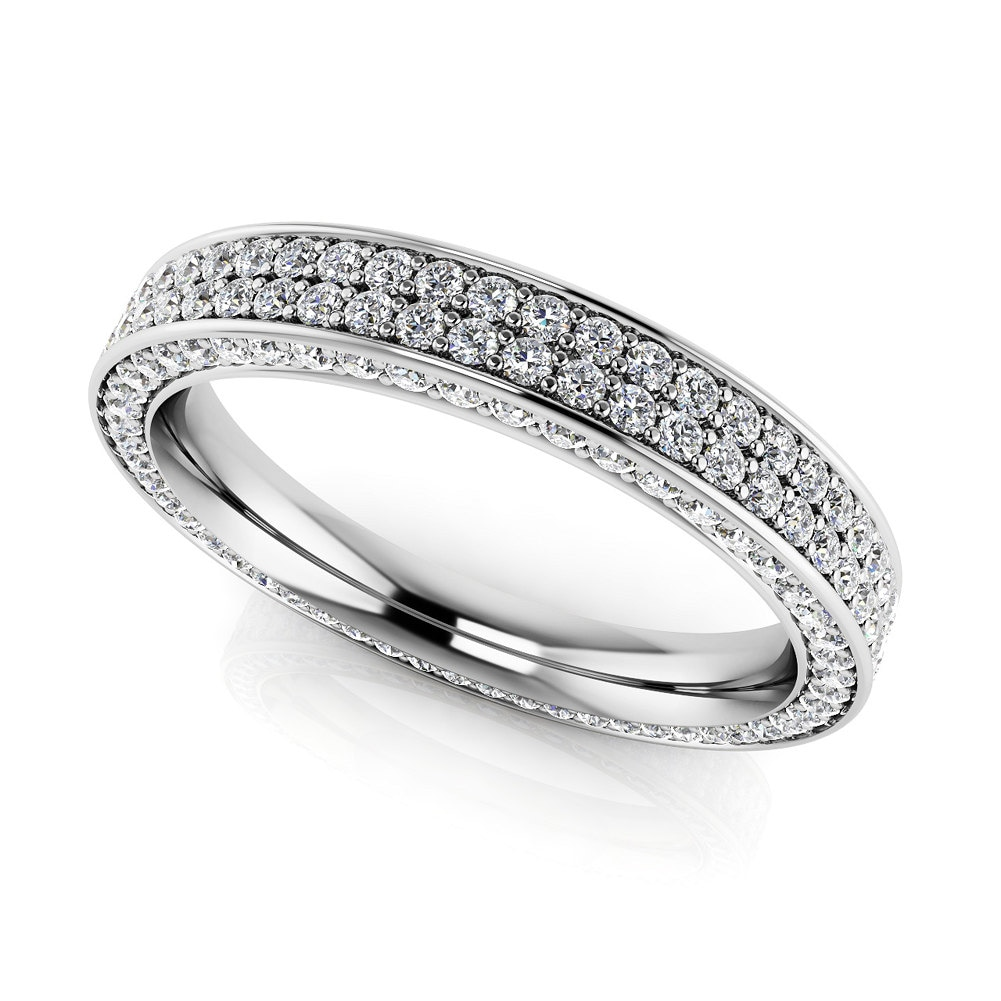 Women S White Gemstone Eternity Ring Unique Diamond Band