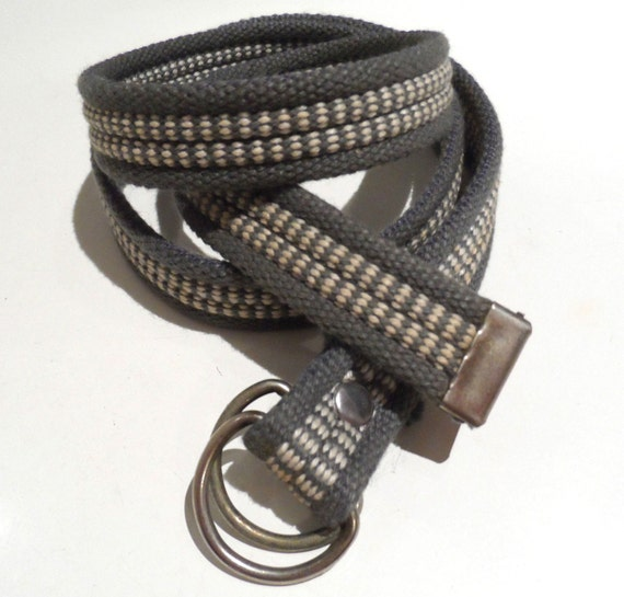 Vintage grey and white ribbed weave belt with pewter tone double d ring buckle - 83.5cm total length