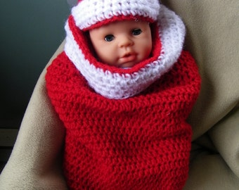 Christmas Crochet Baby Cocoon with Hat