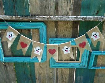 Ghost Emoji & Red Heart Burlap Banner Garland