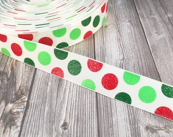 "Christmas ribbon - Glitter Christmas - Red Green ribbon - 7/8"" Grosgrain ribbon - Sparkle ribbon - DIY Christmas bow - Christmas crafts"