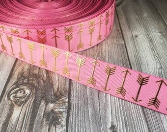 Arrow ribbon - Pink gold ribbon - Boho arrows - Metalic foil ribbon - Coachella ribbon - Bohemian ribbon - Trendy ribbon - 3 or 5 yards