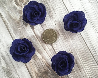 Royal blue burlap flowers - Set of 4 - Crafting roses - Craft supply flowers - 1 3/4 inch - DIY headband - Crafting supplies - Burlap roses