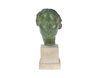 "Vintage Bronze Sculpture ""Mask of a Woman"" after Victor Salvatore circa 1922"