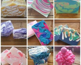 Six Handmade Soap Bars, Flat Rate Shipping, Soap Grab Bag