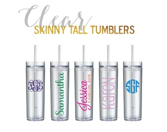 Personalized 16 oz. CLEAR Skinny Tumblers | Monogrammed cups