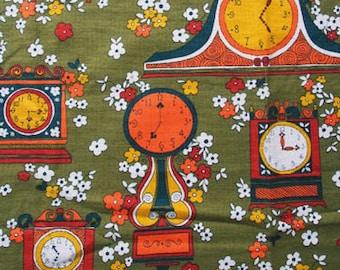 Vintage 1960s Mod Pop Flowers & Clocks Cotton Linen Fabric