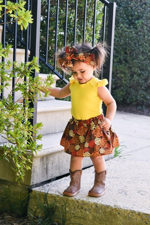 Brown floral skirt -Fall Flavor - baby skirt -toddler skirt- Headwrap- head band-bloomers
