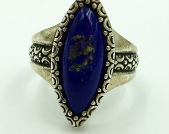 Vintage blue Tanzante sterling ring size 7.