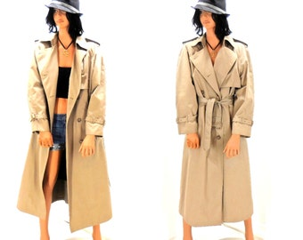 Vintage 70's khaki trench coat, 1970's double breasted trench, removable liner, size M, London Towne retro 70's full length tan rain coat