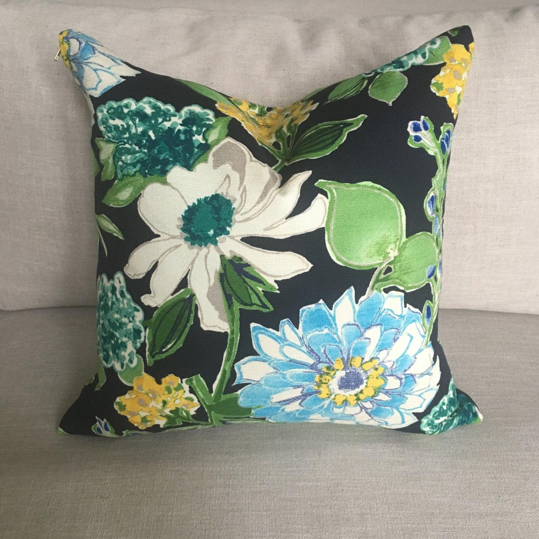 Candance Floral Throw Pillow Throw Pillow, Pillow, Floral Pillow Cover, Pillow Cover, Navy ...