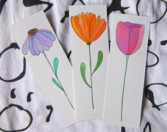 Pack of 3, Hand-drawn Flower Bookmarks